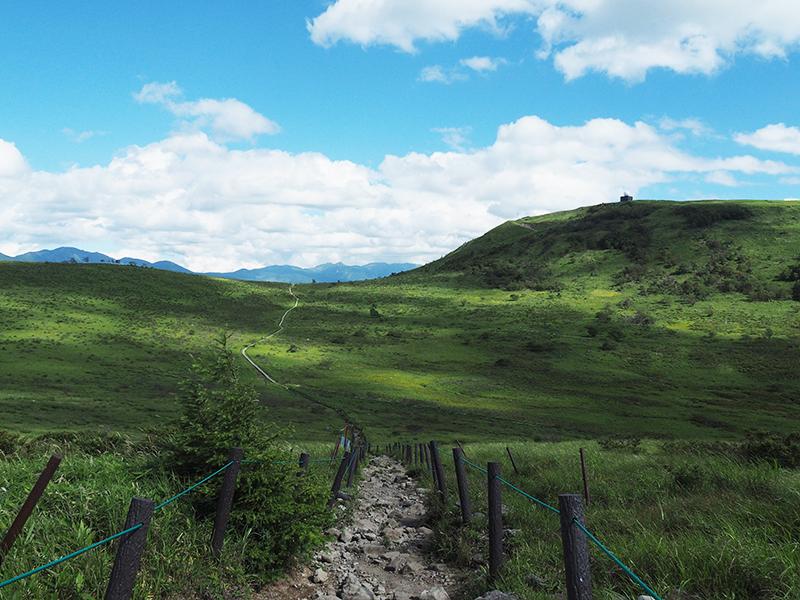 青々とした草原とだらかな稜線、青空が広がる