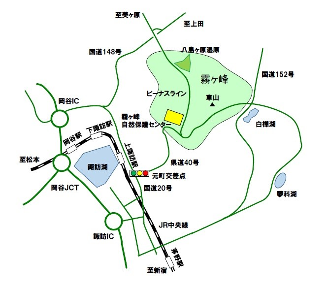 霧ヶ峰自然保護センターの位置を示す地図