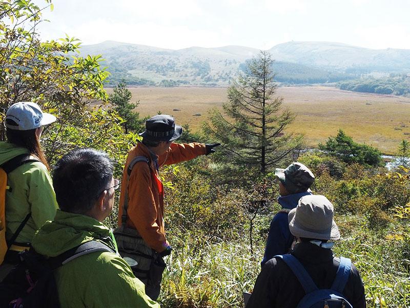 八島ヶ原湿原を見渡せる場所で参加者に話をするスタッフ