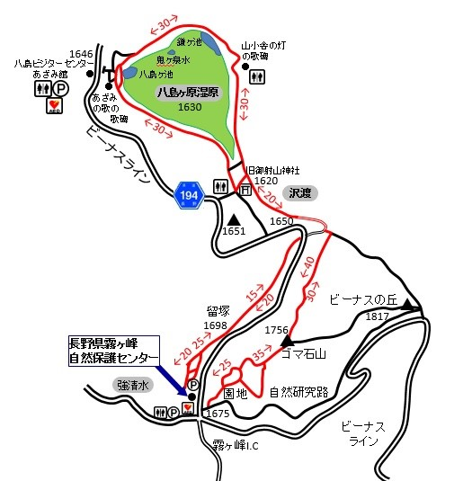 八島ヶ原湿原までの周回コースの地図