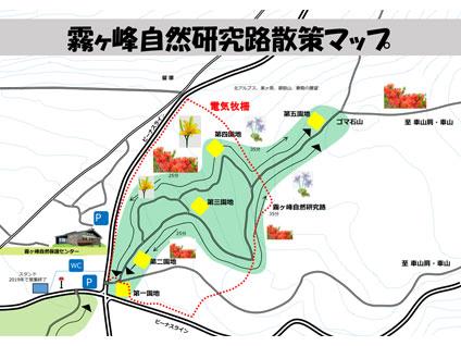 霧ヶ峰自然研究路散策マップ